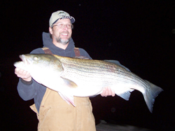 "Wow! What a Striper - caught about a mile from our house. 44 1/4"" 41 Lb Sriped Bass That same night Mike caught a 38 pounder and we each caught a 21"" walleye. GOTTA LOVE THIS LAKE!"