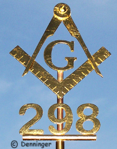 Denninger Custom Flagpole Ornament Masonic Square & Compasses and Lodge Number Finished in 23k Gold leaf