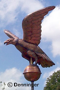 "Hand Hammered Copper Eagle Flagpole Ornament 15"" Wingspan"