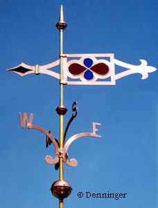 Denninger Gothic Caramoor Banner Weather Vane shown with optional directionals