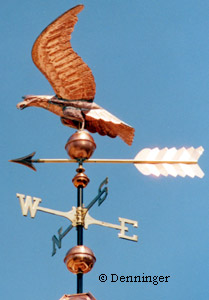 Hand Hammered Full Bodied Copper Eagle Weather Vane Complete
