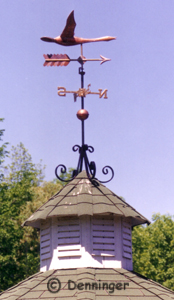 Goose Weather Vane with a Scroll Bracket Mounted on a Gazebo Cupola