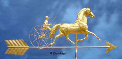 "Black Hawk Horse & Sulky Weather Vane On 54"" Arrow 23k Gold Leaf"