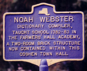 Historical Marker on the Sight of the Noah Webster Building