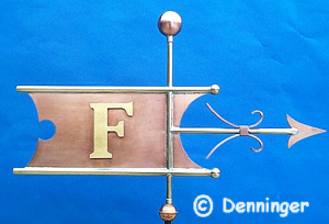 "Denninger Newton Banner with raised & gilded letter ""F"""