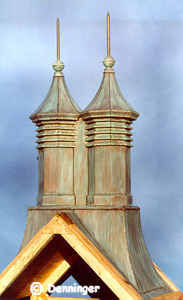 Verdigris Patina on Large Denninger Cupola Vent with Finials