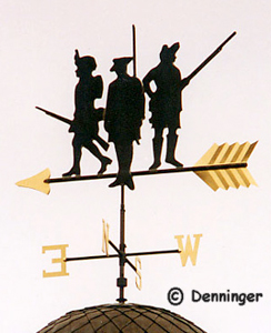 Custom Redcoats Swell-bodied Weather Vane with black patina and gold accents